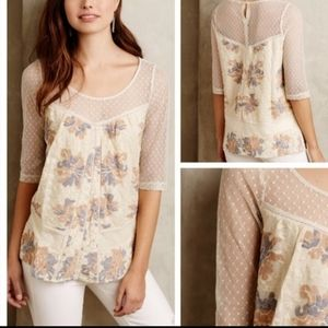 Meadow Rue Anthro Anja lace floral blouse TB2